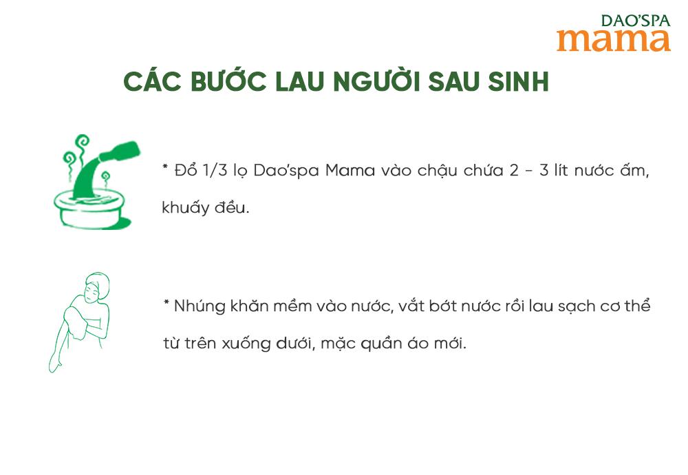 Các bước đơn giản lau người với Dao'spa mama