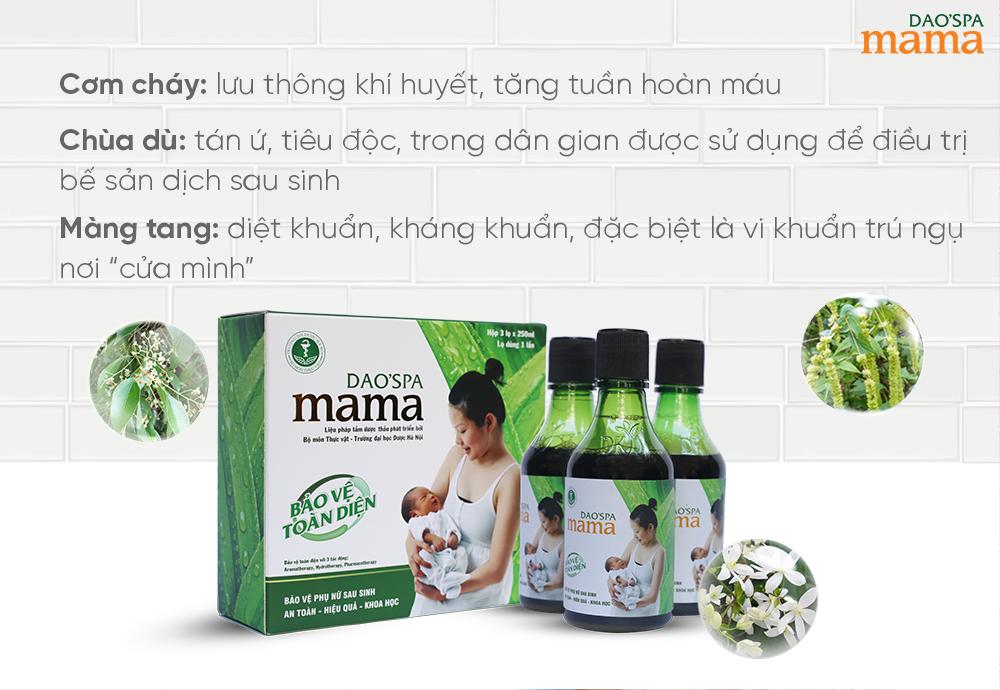 3 thành phần trong Dao'spa mama giúp đẩy nhanh sản dịch sau sinh