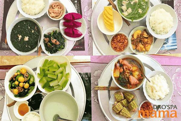 Đa dạng khẩu phần cơm cữ, tăng cường rau và hoa quả giúp sản phụ tránh bị táo bón