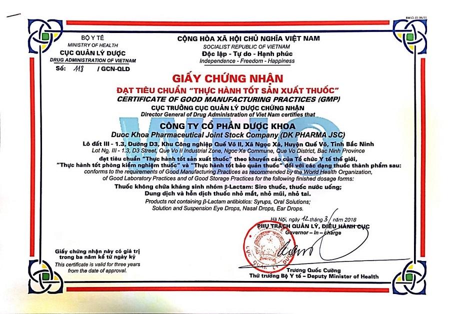 giấy chứng nhận nhà máy đạt chuẩn GMP